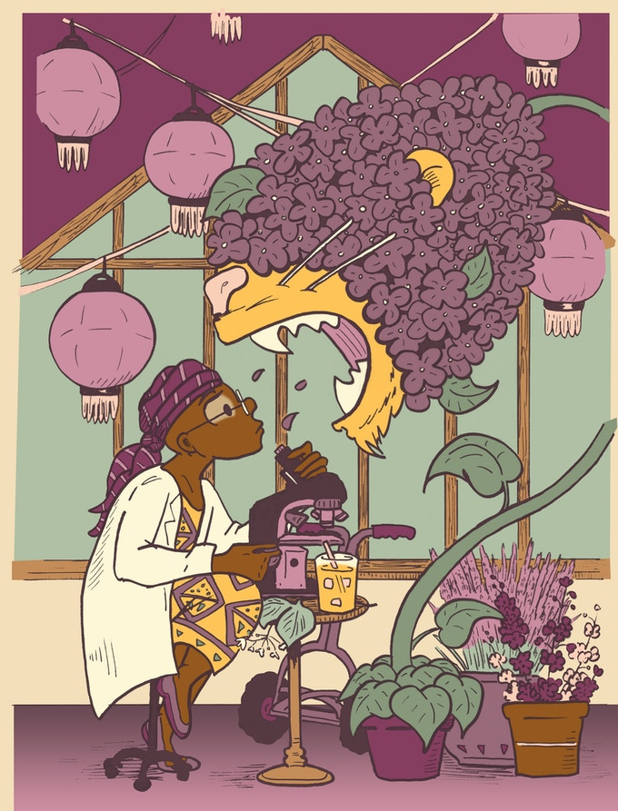 L is for Lenu, In Her Lab with Lilah the Lion Lilac