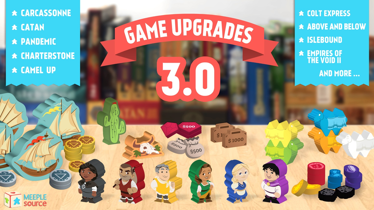 Game upgrade kits for Pandemic, Carcassonne, Catan, Ticket to Ride, Yokohama, Charterstone, Near and Far, Colt Express, and many more!