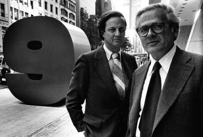 Ivan Chermayeff and Tom Geismar, with their sculpture for 9 West 57th Street, New York City