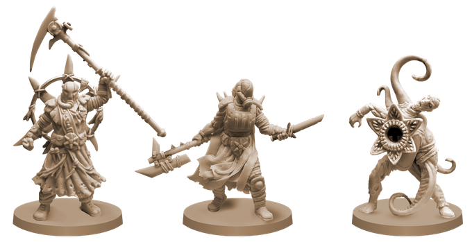 Some of our bad guys, from left to right: Cult Leader, Cultist and Hybrid.