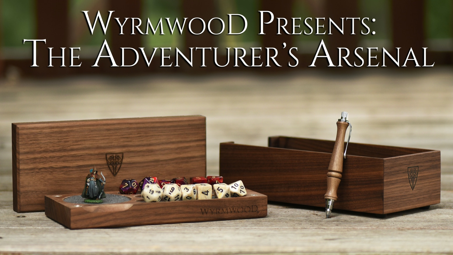 Storage for dice and miniatures, a rolling tray and a pencil make the Wyrmwood Adventurer's Arsenal the perfect tabletop RPG companion.