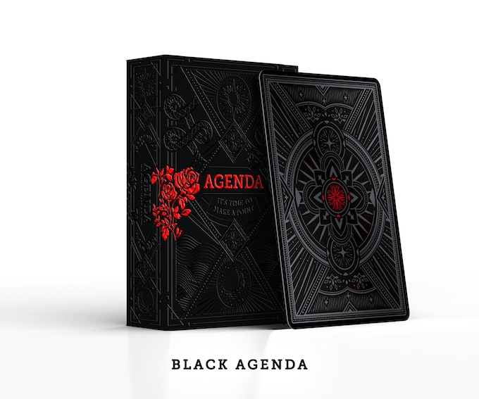 Black agenda with spot uv printing and tuck case embossing
