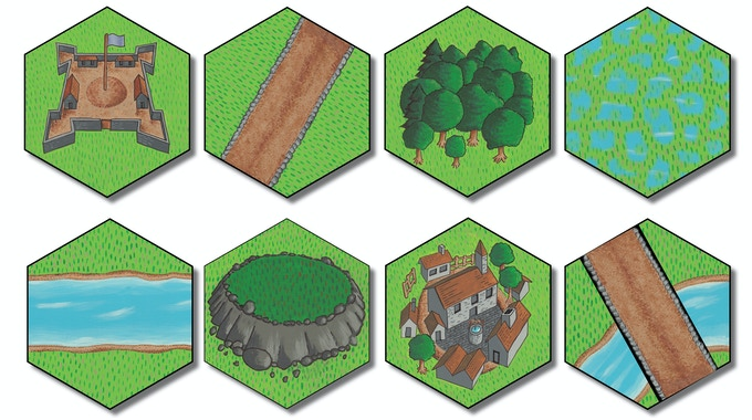 44 double-sided terrain hexes  add depth and dimension to the battlefield.