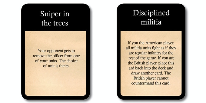 Examples from the deck of 52 battle cards. Players draw 1 battle card per turn, adding variability to the game play.
