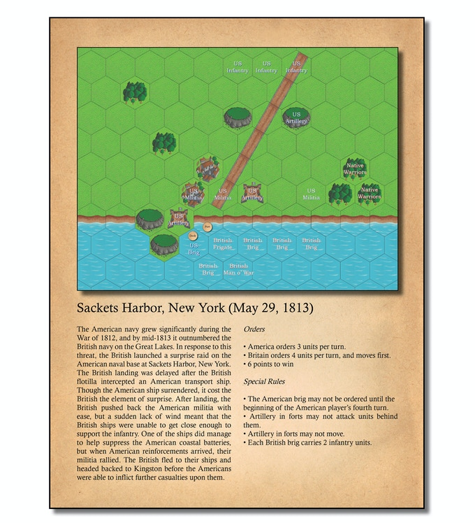 The game includes 16 historically accurate scenarios - Brownstown, Trenton, Fort Detroit, Queenston Heights, Frenchtown, Ogdensburg, York, Fort George, Sackets Harbor, Stoney Creek, Beaver Dams, Chateauguay, Crysler's Farm, Bladensburg, and Baltimore.