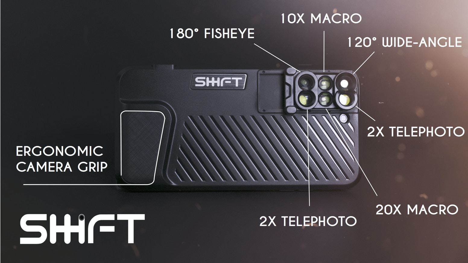 SHIFTCAM is a 6-in-1 lens case that enables you to take high-quality shot in the most comprehensive, convenient and portable way.