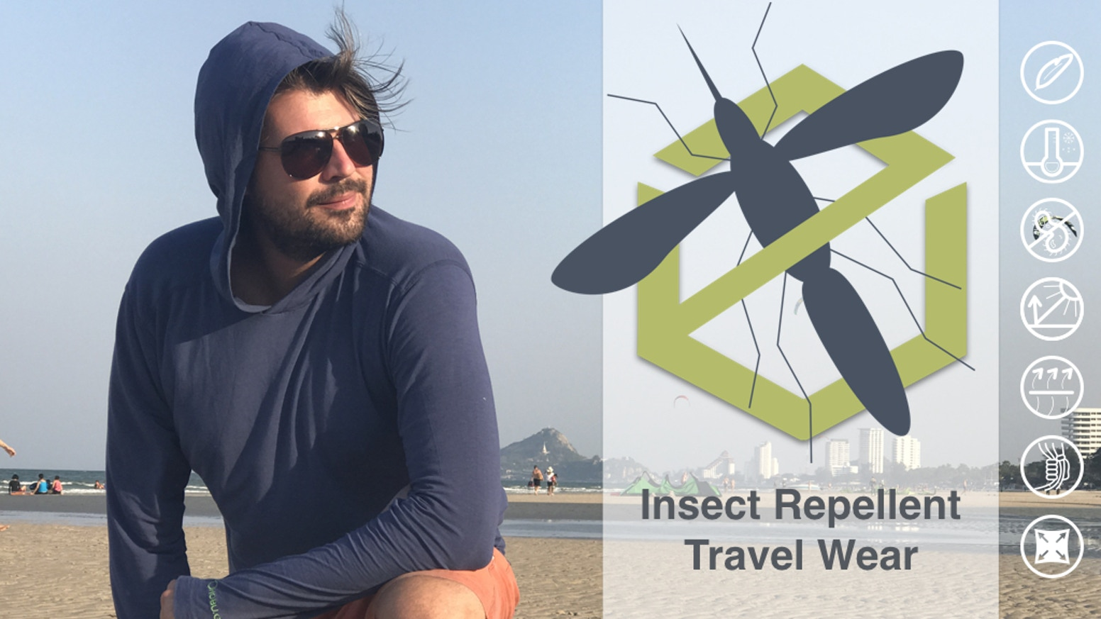 The ultimate insect repellent travel hoodie, cargo pants and socks. 