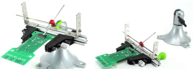 FlatBall allows the PCBGRIP Vise to be supported by the PanaVise® Model 201 base or sit flush on your work surface.