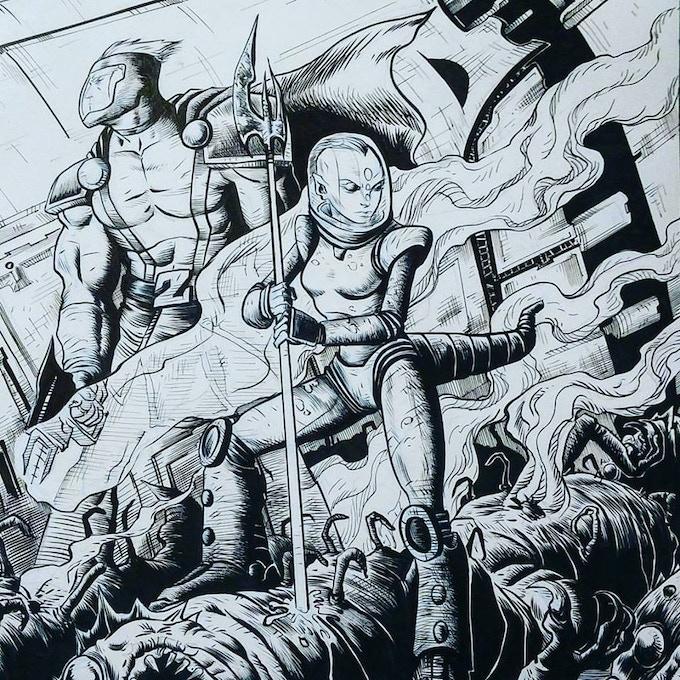 Shane Heron's incredible pin-up. Pledge $75 to own the original art!