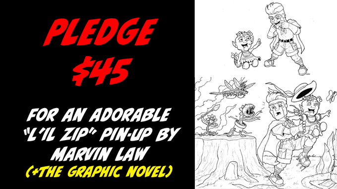 """Pledge $45 one of two original pin-up art of """"L'il Zip and Baby Nuone"""" by Marvin Law"""