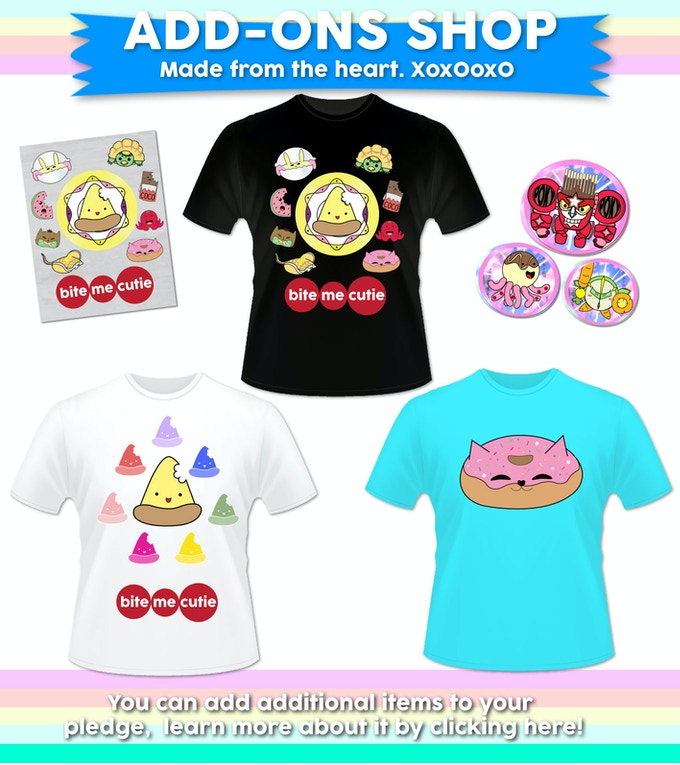 Be the first to have access to our exclusive merch! All pledges above $10 unlocks the ADD-ON SHOP! Shirts, posters, & more to add a lil'extra CUTE to your collections. :)
