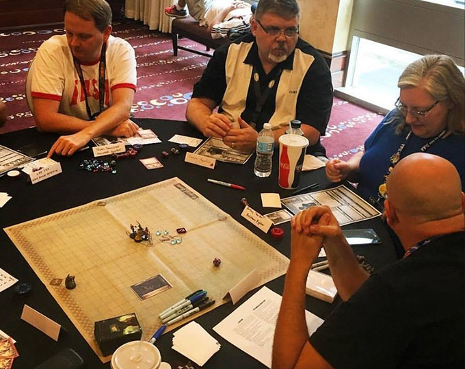 Shane, Clint, Jodi, and Darrell playtesting.