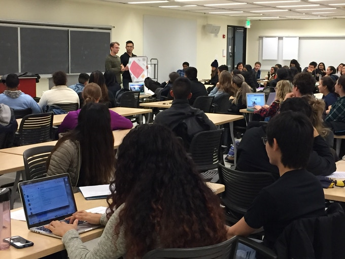 React! team members teach UC Berkeley students how our game can revolutionize chemistry education.