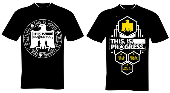T-Shirt designs: 'No.1 Contender' & 'Title Shot' - £35 or get both together for £50 in the 'Tag Team Title Shot' pledge