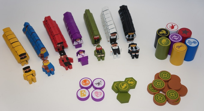Scythe Worker Meeples and Painted Tokens