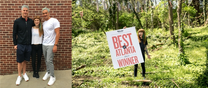 Left: Pictured with Olympic Swimmer Ryan Lochte after dying his hair for the 2016 Summer Olympic Games; Right: Jenn posing with the Best of Atlanta 2015 poster from Atlanta Magazine