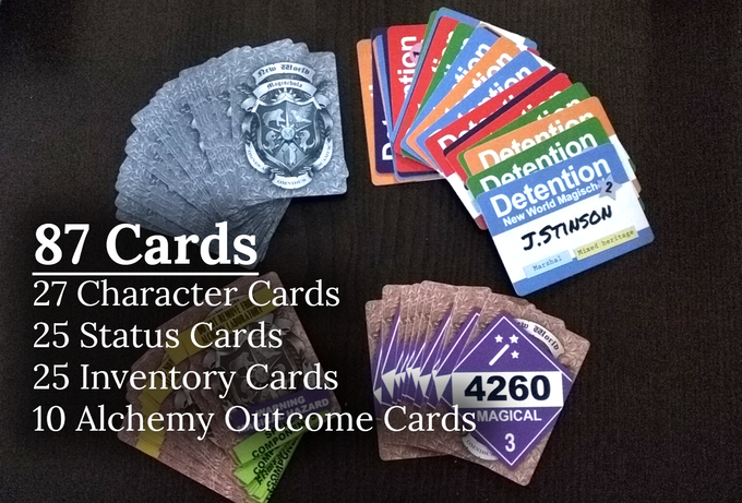 At 87 cards, the game has 4 decks: character, status, inventory, and alchemy outcome.