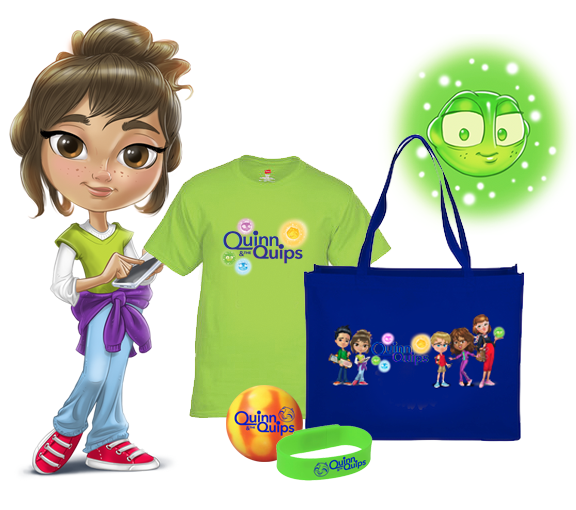 Large Quinn & the Quips tote with production crew T-shirt, USB Band and Quip Stress Ball!
