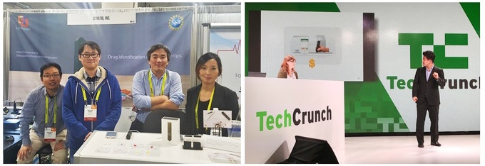 (Left) Team Stratio getting ready to welcome visitors to our booth at CES 2017. (Right) Presenting LinkSquare to the audience at the 2017 Tech Crunch Hardware Battlefield competition.