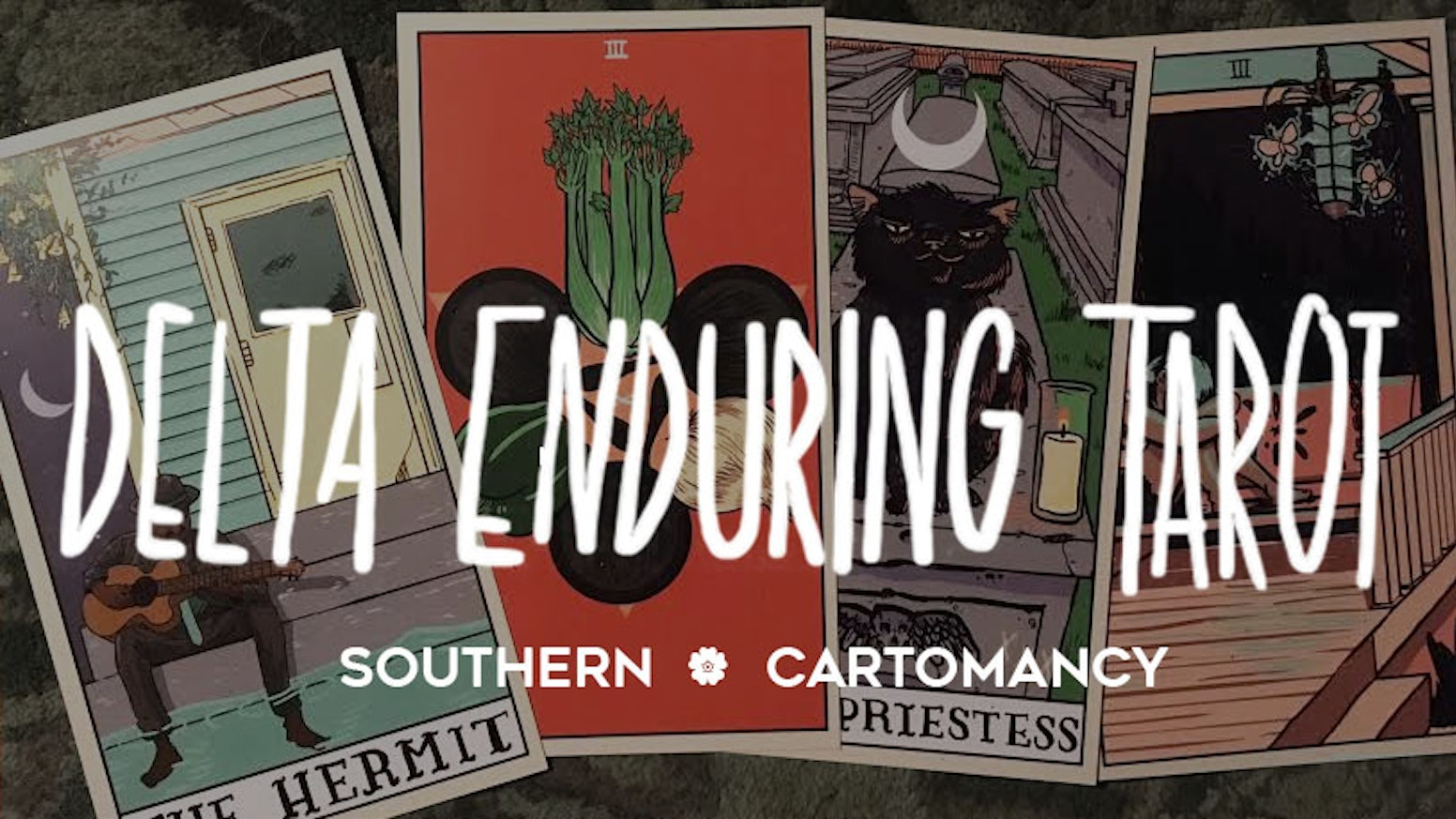 A modern 82-card color illustrated tarot deck centering on the natural beauty and struggles of life in the Mississippi Delta.