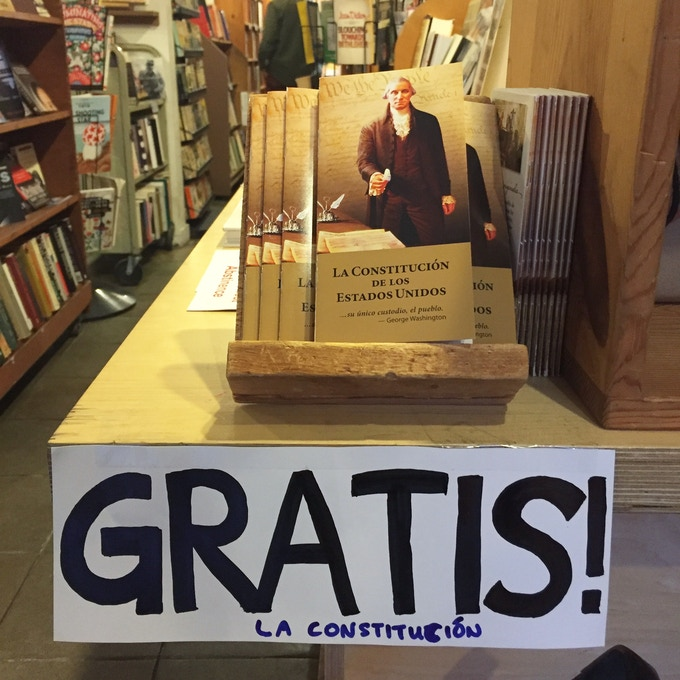 In February, in response to recent policies, neighbor Kira Kmetz gave away copies of the U.S. Constitution in Spanish at our store.