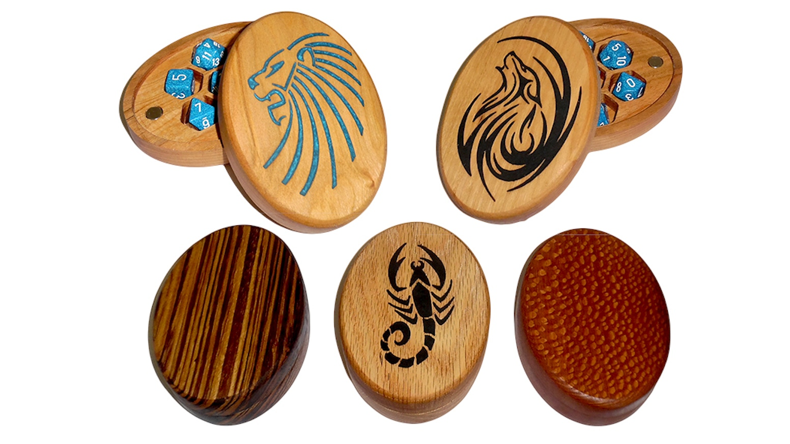 Store polyhedral d20, RPG, D&D, dice, Jewelry  and Gaming accessories,  Hardwood case, crafted with 30 years of woodworking experience.