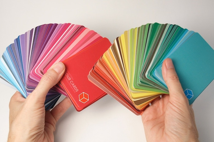 Playing cards for designing, exploring, and understanding hue, value, and saturation. Colour on one side, codes on the other. An interactive mix of art and science, it's colour for both sides of your brain.