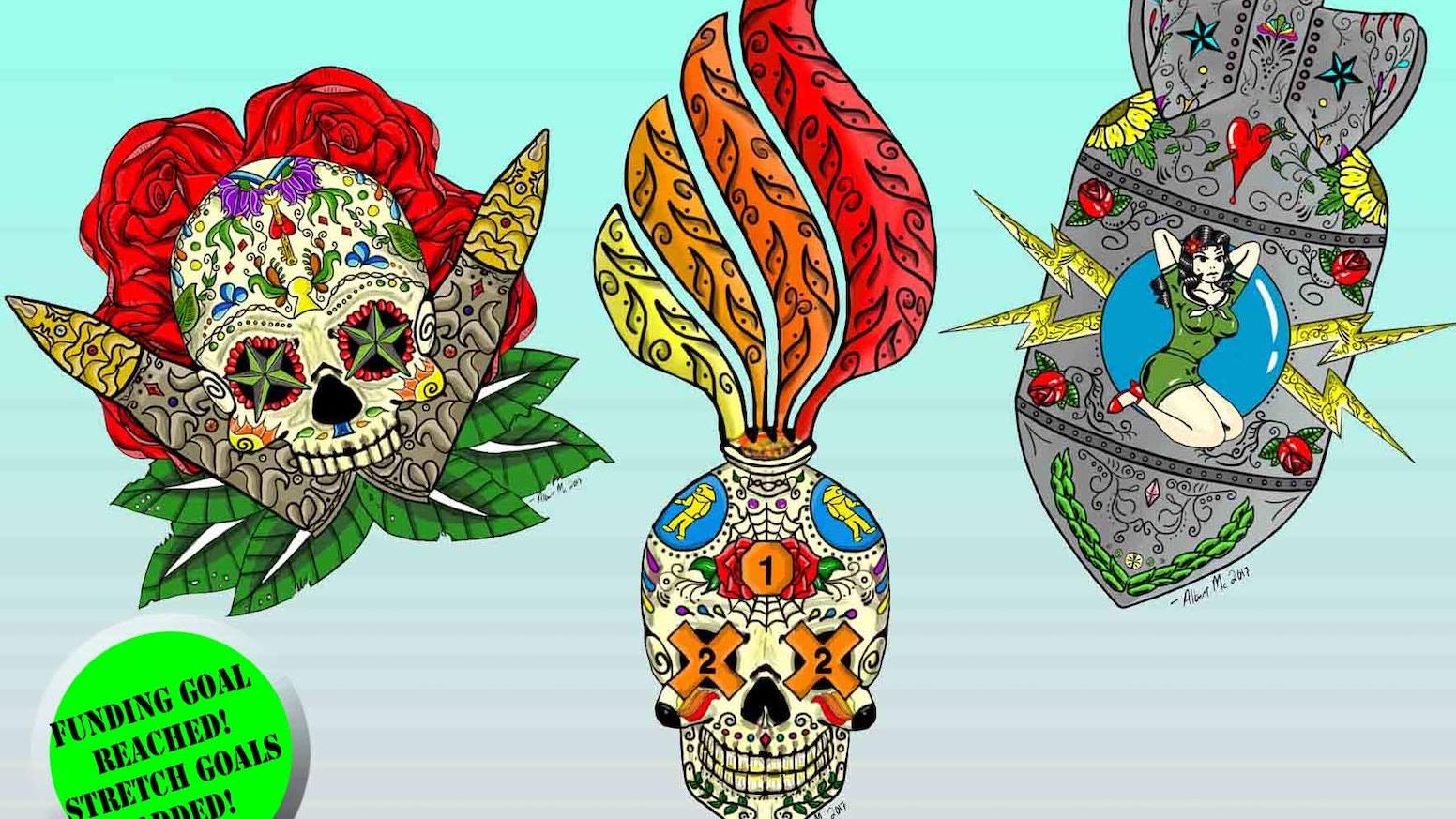 Traditional military sugar skull calavera dia de los muertos 4in vinyl stickers