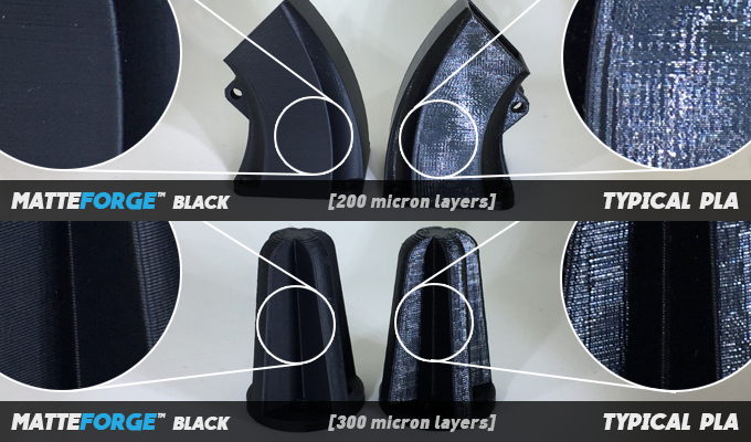 Comparison with typical PLA - The beautiful matte, low gloss finish from MatteForge compared to the glossy finish associated with almost all PLA based materials.