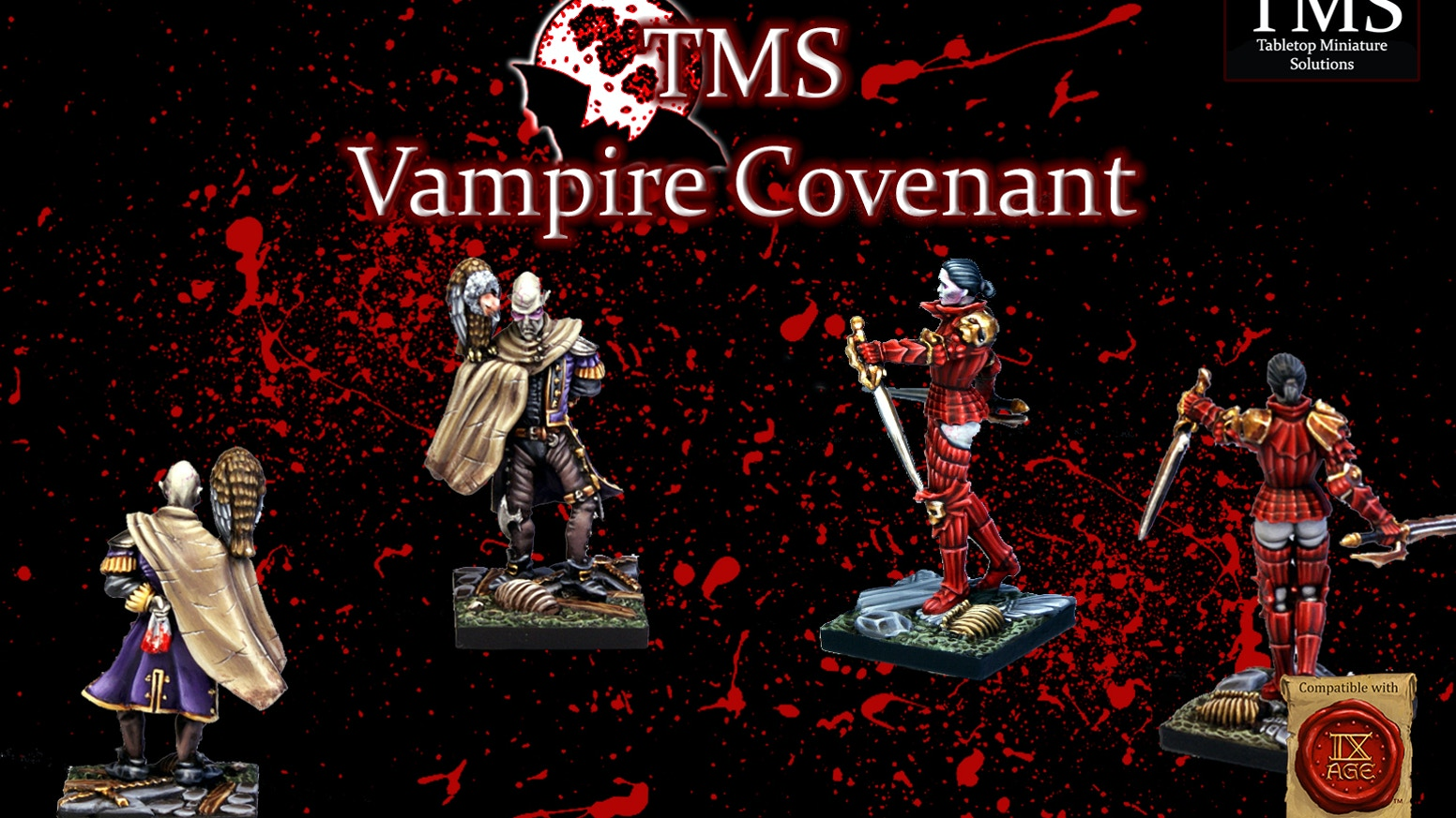 A complete Vampire Covenant army, to be used in your Fantasy Battles: The 9th Age games or for your other desires.
