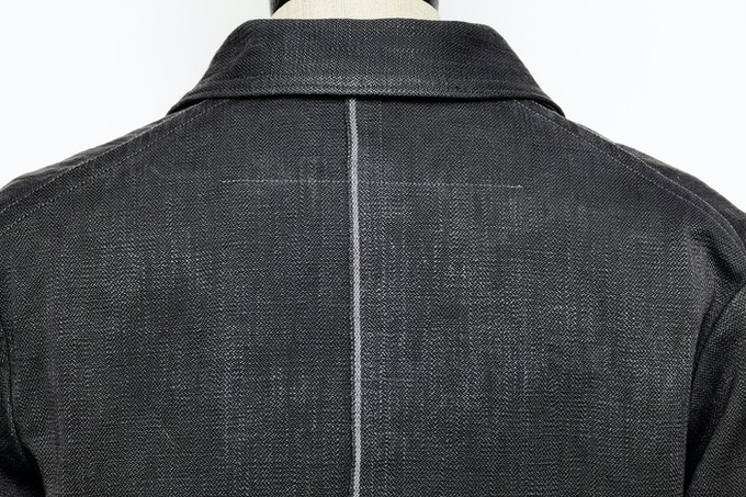 SLATE/grey Invisible Acts jacket showing white selvedge detail