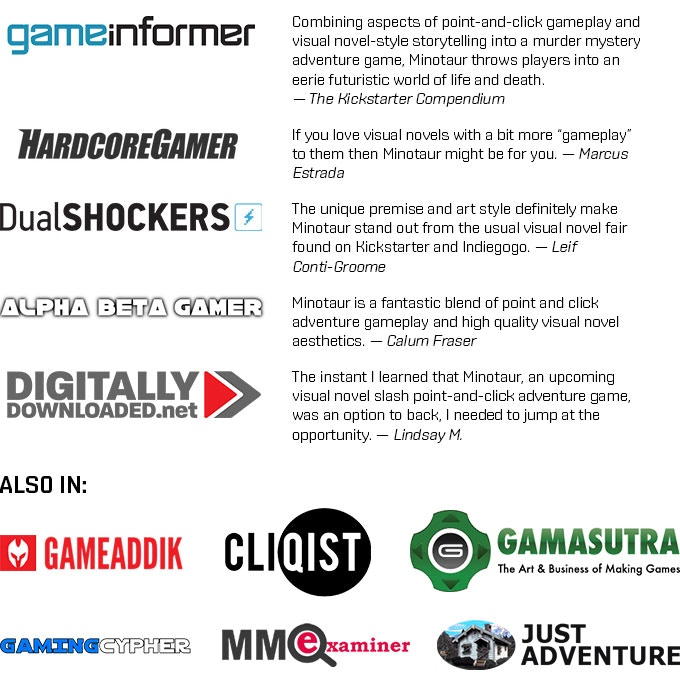 Also in: Indie Games Magazine, BackerKit, Adventure Gamers... and more!