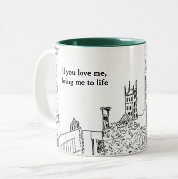 City Song Mug (Pen&Ink - Asheville Cityscape) - Side A