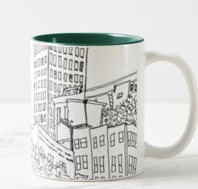 City Song Mug (Asheville Pen & Ink Cityscape) (Side B)