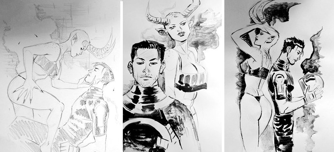 Celestini's sketches made on paper with pencil, charcoal and ink