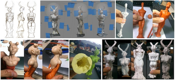 Pictures from the statue production