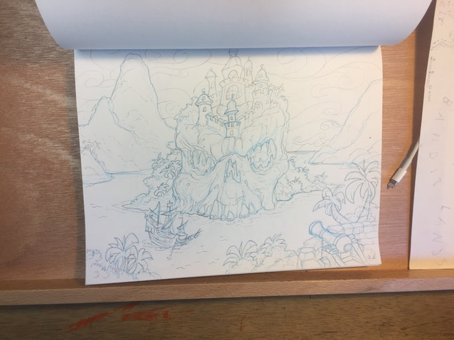 I sketch them using light blue pencil first in rough form, then do a more precise clean pencil line on top. I usually scan my sketches in Photoshop and lighten the blue to white, making the rough lines disappear.