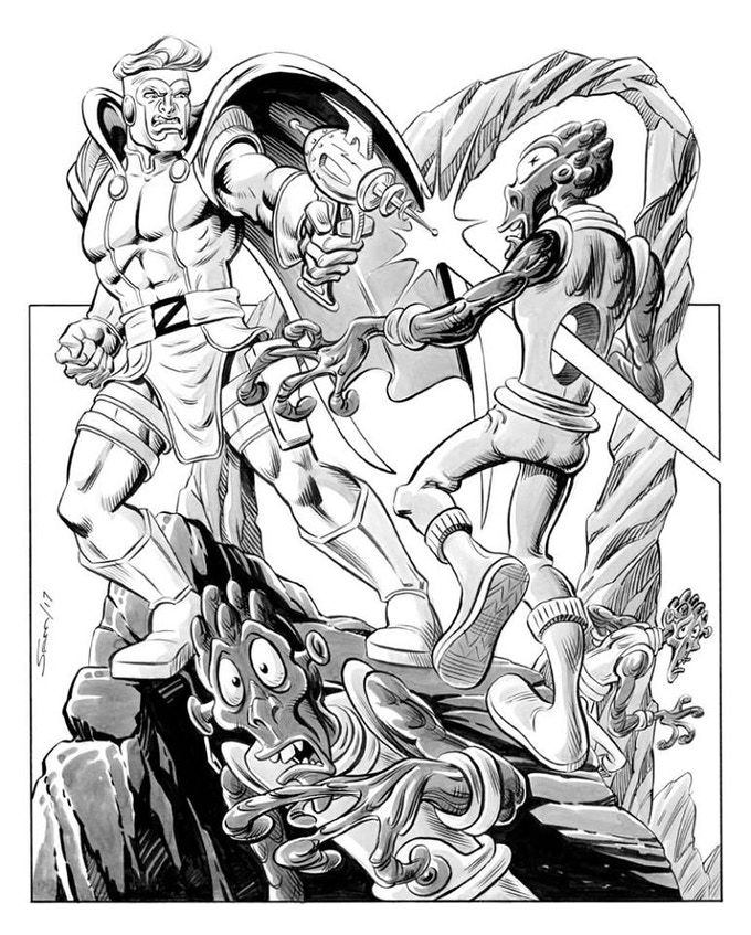 Sam Agro's mind-blowing pin-up. Pledge $75 to own the original art.