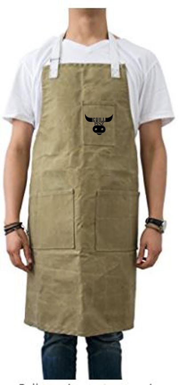 Grill Pinz exclusive grill apron, available with the gift set support levels