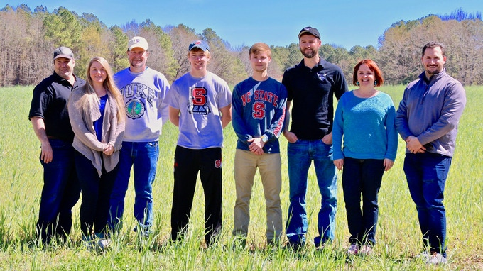 Team Grill Pinz on the day of our video shoot in a random field in Central NC :) Go Pack!