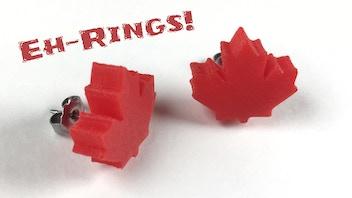 Eh-Rings! - Canada Day 3D Printed Stud Earrings