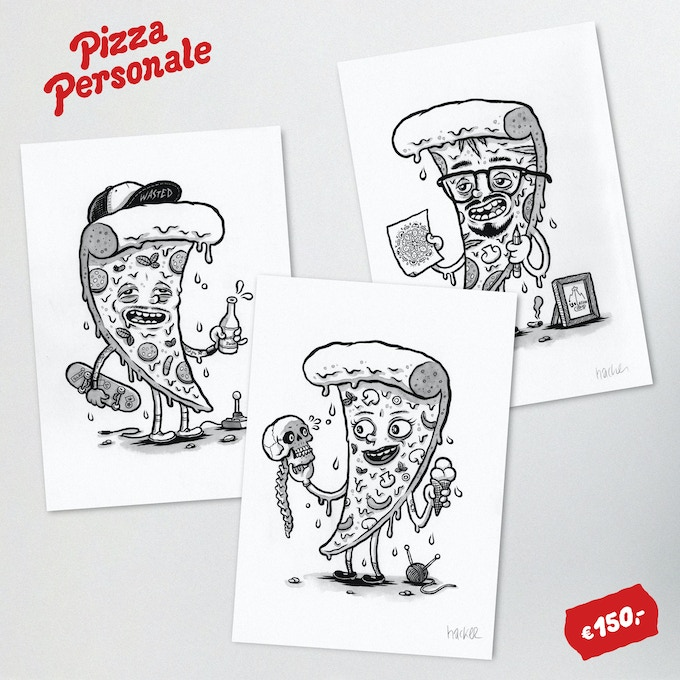 Get an ORIGINAL BLACK AND WHITE DRAWING (15x21cm) of yourself (or your favourite character) as a pizza slice + one SIGNED copy of the book (please add € 20,- if you want your artwork framed).