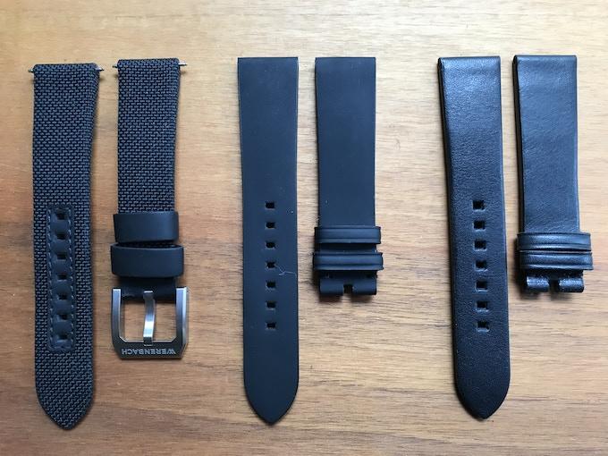 Strap 1: Textile; Strap 2: Calf leather; Strap 3: Rubberized leather