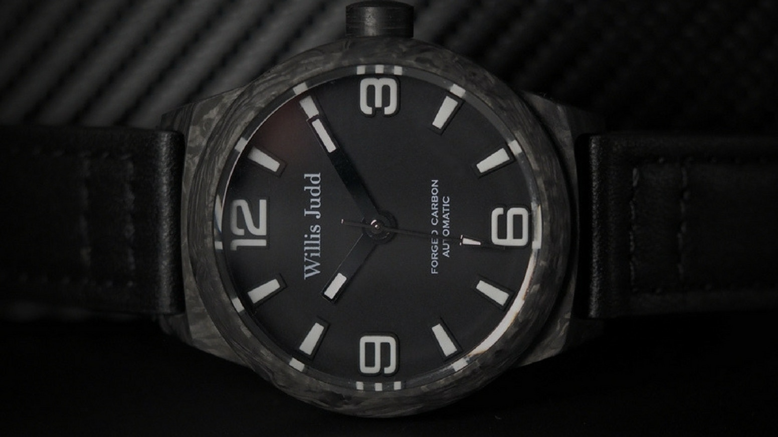 Engineered Forged Carbon watch case, powered using a Miyota 90s5 Automatic movement, featuring Lume & Italian Leather Strap