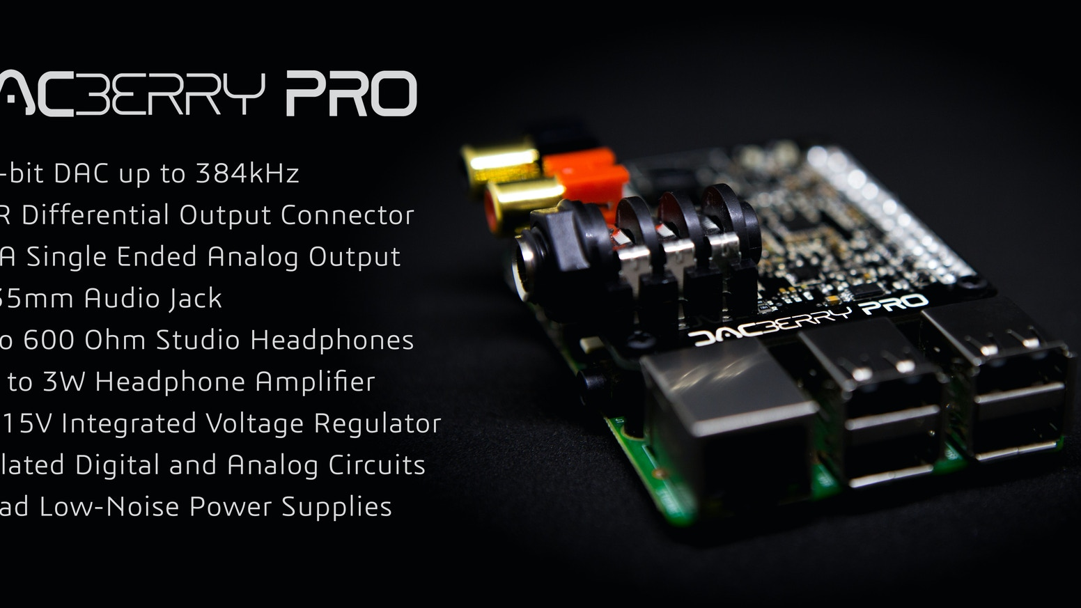 Introducing one of the most advanced soundcards for Raspberry Pi. A professional device that will bring you an incredible audio quality