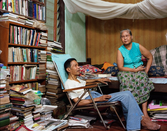 Photo by Dana Lixenberg, of poet Maung Aung Pwint with his wife Daw Nan Nyunt Shwe
