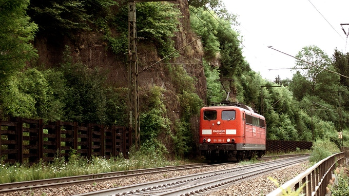 "A Train coming it´s way over the ""Geislinger Steige"""