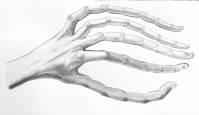 "'Longfingers"" Prosthetics Concept Art (by Gina Tuzzi)"