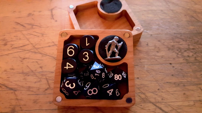 Quarter Core seen here in Cherry with 28mm knight and Knight Black Anodized Aluminum Dice.