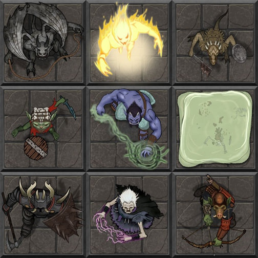 A small sample of monster tokens Devin has made. From top left: Gargoyle, Fire Elemental, Kobold Skirmisher, Goblin Captain, Ogre Mage, Gelatinous Cube, Abyss Knight, Wight, Orc Archer.